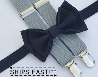 Navy Bow Tie & Light Gray Suspenders with Navy Pocket Square -- Ring Bearer Outfit -- Bow Tie Suspenders for Groomsmen