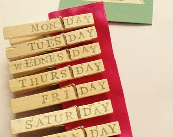 Daily, Day, Useful, Fridge Magnets, Organised, Kitchen, Fridge, Magnets, Everyday,  Shabby Chic, Stamped, Wooden Pegs