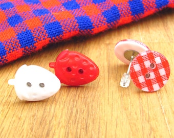 Picnic food theme jewellery set, strawberry studs, kawaii button earrings, summer jewelry, red and white gingham, Wimbledon outfit