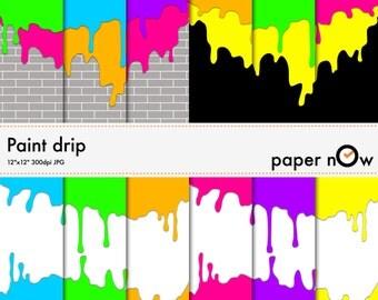 Paint Drip Digital Paper, Paint Splash Drip Digital Paper, Neon Digital Paper, Graffiti Digital Paper - Instant Download