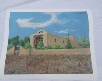 Spanish Mission - Print on fine art Giclee - representational landscape - 14 x18 image