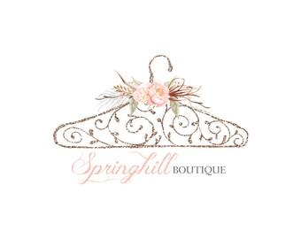 Pre made Logo Design | Hanger Logo | Boutique Logo | Glitter Logo | Watercolor logo | Watermark | Customizable to adapt to any business
