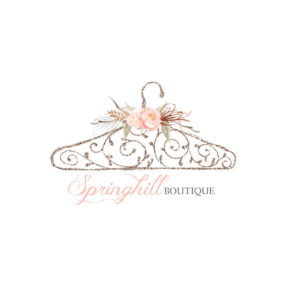 Pre Made Logo Design Hanger Logo Boutique Logo Glitter