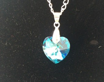 Bright blue swarovski heart necklace