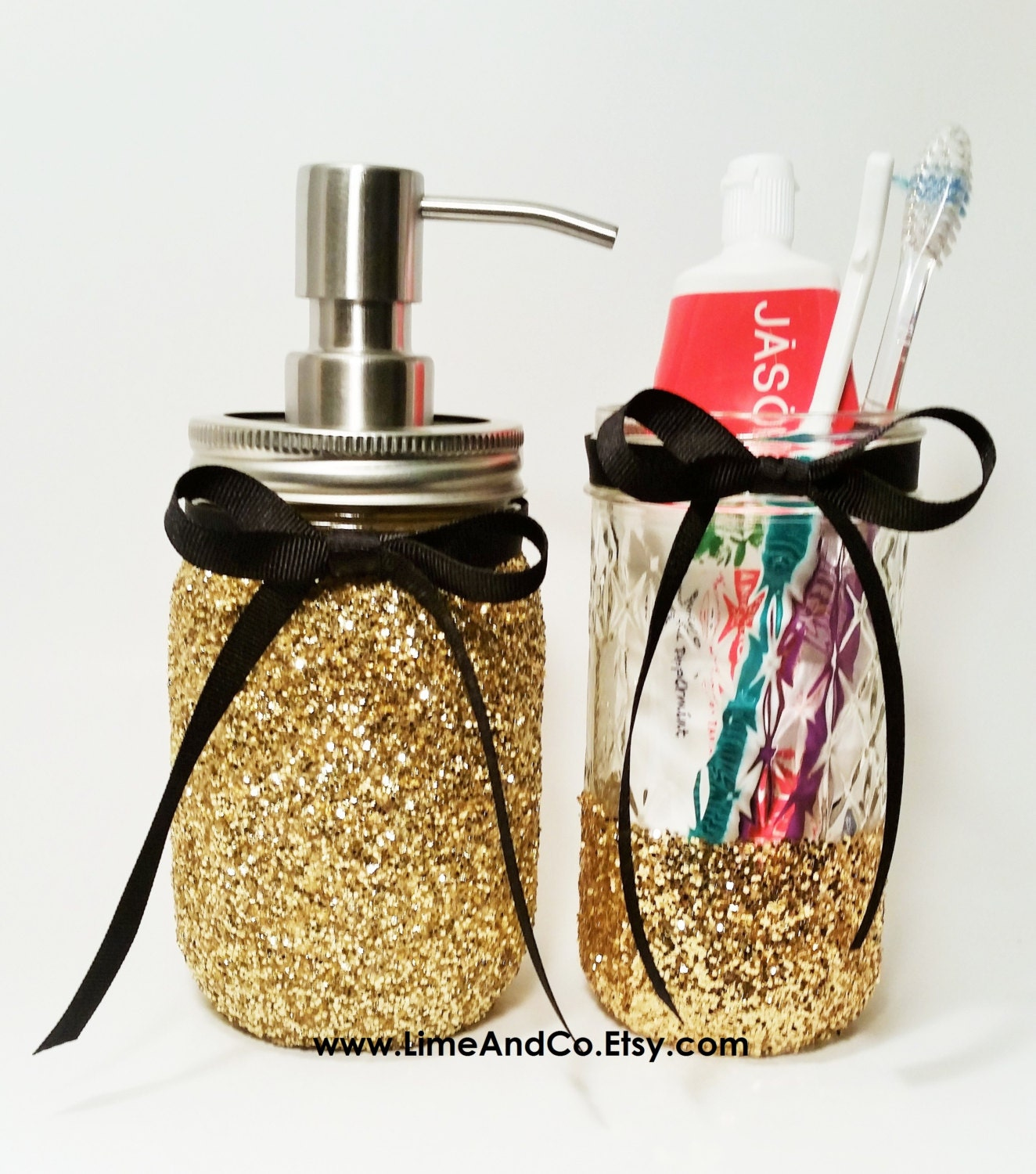 Mason jar soap dispenser bathroom decor mason jar bathroom for Pink and gold bathroom accessories