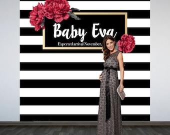Elegant Stripes Baby Shower Backdrop- Photo Booth Backdrop- Black and White Stripes Baby Shower Backdrop, Custom Backdrop, Party Backdrop