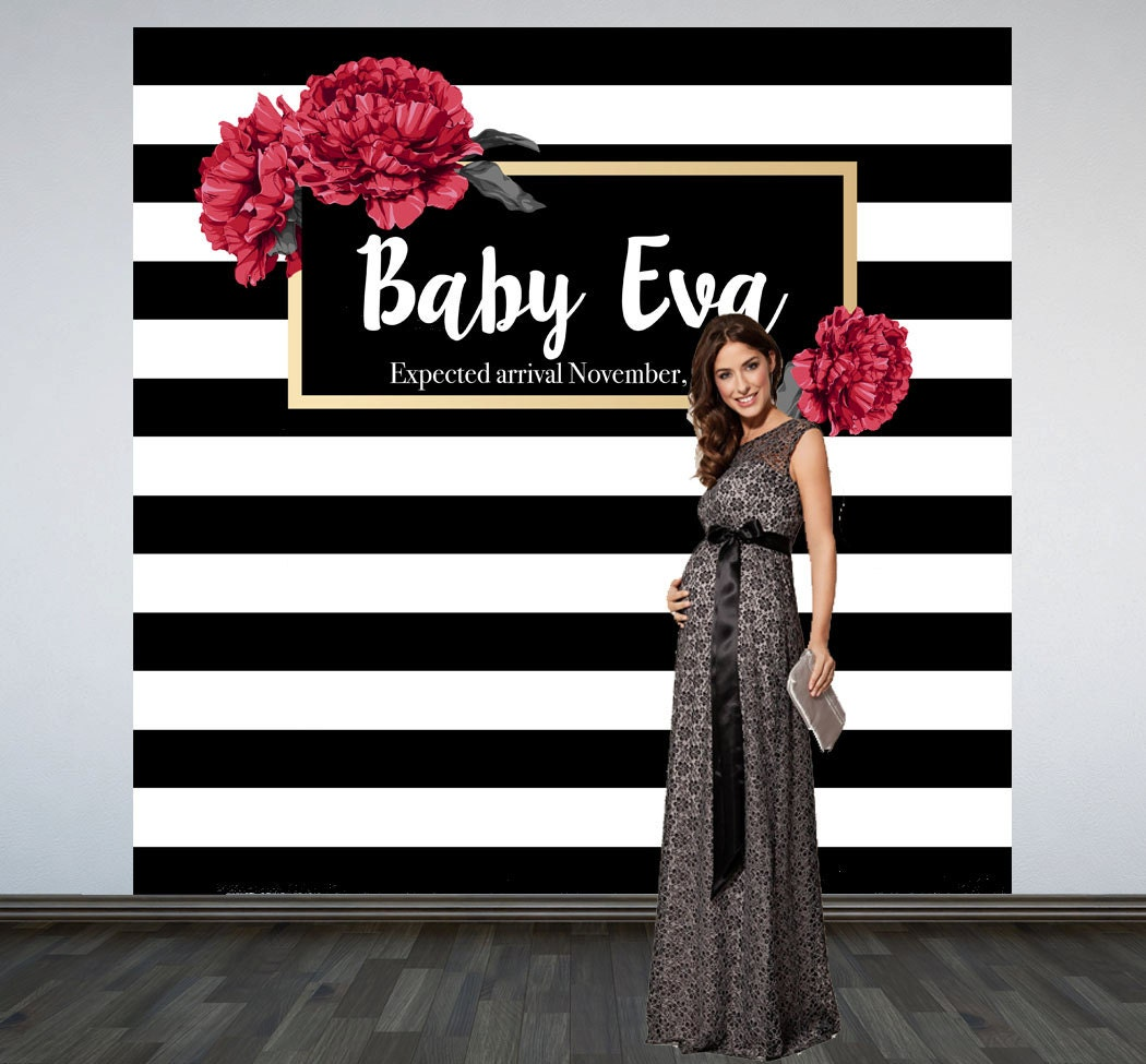 elegant stripes baby shower backdrop photo booth backdrop