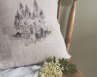 House in the Wood Linen Cushion