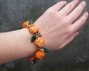 Tangerine Bracelet, Mandarin Jewelry, Polymer Clay