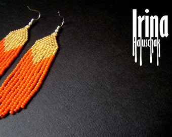 Beaded earrings, seed bead earrings, modern earrings, boho earrings, fringe earrings, beadwork jewelry, orange and gold, tribal earrings