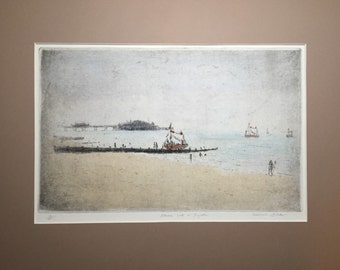 Pleasure Boats at Brighton by Michael Blaker RE signed limited edition etching 10/30