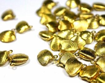 10pcs Raw Brass Shell Charms 13mm, Brass Shell Pendant