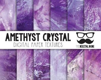 Premium Digital Paper Set, Amethyst Digital Paper, Scrapbook Paper, Crystal Texture, Amythist Crystal, Instant Download