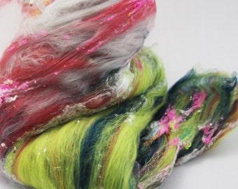 """Fiber Art Batt - Hand Carded Merino, Mulberry Silk Noils, Angelina - """"Desert Dancer"""" Spinning Felting Crafting"""