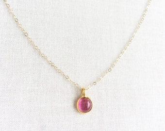 14k Solid Gold Pink Tourmaline Necklace - 18k Pink Tourmaline Necklace - 14k Gold Necklace Dainty - 18k Gold Necklace 14kt Gold Necklace