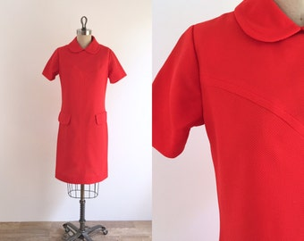 1960s Red Mod Mini Dress   medium