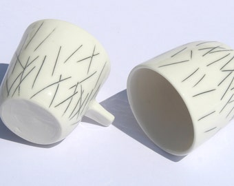 Black and white pottery espresso cup set - wheel thrown, handmade porcelain pair of espresso cups - by Curve Ceramics