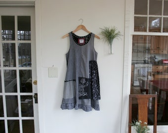 Altered Couture 'Streets of San Francisco'  Dress/  Repurposed Dress Upcycled / - by Breathe-Again Clothing