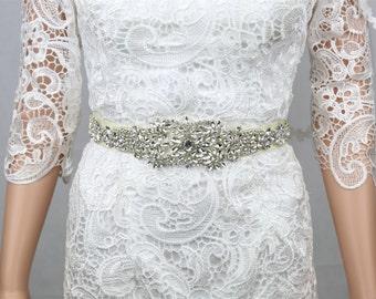 Wedding Belt, Crystal Belt Bridal Wedding, Wedding Dress Sash, Ivory.