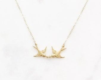 LOVEBIRDS | Bird Necklace | Lovebird Necklace | Dainty Gold Soaring Bird Necklace | Flying Bird Necklace | Two Birds Necklace