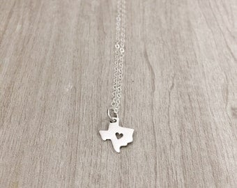 TEXAS | Texas State Necklace Silver | Sterling Silver Texas Necklace | Texas Heart Necklace | Texas Owndant Necklace| Tiny Texas Charm