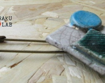 Hatpin Raku-handmade-piece ceramic blue and white Geometric-OOAK-pin RAKULAB on etsy