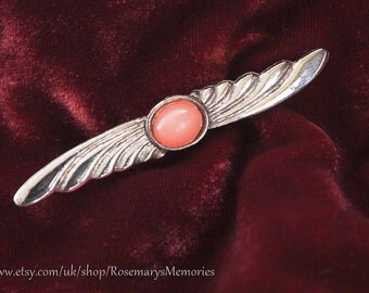 Vintage Brooch, wing shape, silver toned metal, pink stone, propeller, 65mmm 2.3/4 inch, art deco style, coral pink stone,