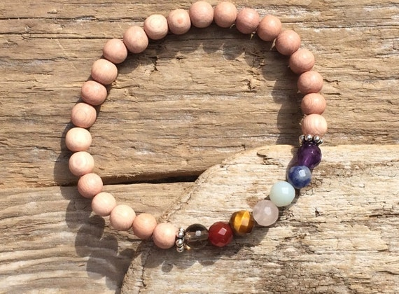CHAKRA Healing Bracelet with Rose Wood Beads// BESOS JEWELRY by Amber Beaded Bracelet/ Stacking Bracelet// Chakra Bracelet/ Chakra Balancing