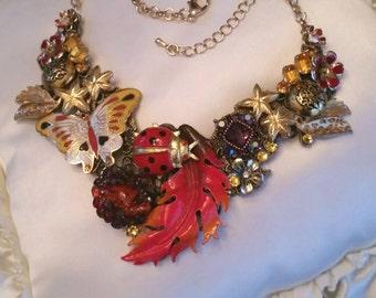 SALE! Mid Century jewelry, OOAK necklace, Vintage necklace, statement necklace, Boho necklace, Upcycled necklace,Coro, weiss,vintage jewelry