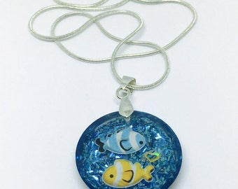 Clownfish Necklace, Resin Jewelry