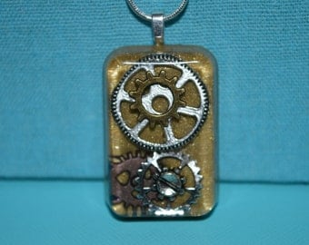 Steampunk Gold Back Gears and Cogs Necklace, Resin Jewelry