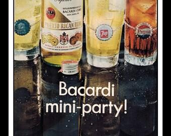"Vintage Print Ad October 1968 : Bacardi Rum ""Mini-Party!"" Advertisement Wall Art Decor Color 8.5"" x 11"""