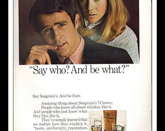 """Vintage Print Ad March 1969 : Seagram's V.O. Crown Whiskey Sexy Girl Wall Art Decor 8.5"""" x 11"""" Advertisement"""