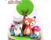 Woodland Cake Topper - Animal Cake Topper - Birthday - Baby Shower - Party - Fox Topper - Keepsake - Clay Topper - Raccoon