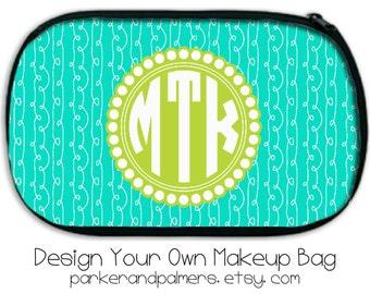 Preppy Makeup Bag. Design Your Own!  With Chevron, Nautical, Polka Dots, etc.