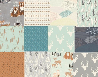 Hello Bear Fabric Bundle, Modern Rustic Woodland Nursery Quilting Cotton, Art Gallery Fabrics, Deer, Bear, Fox, Owls
