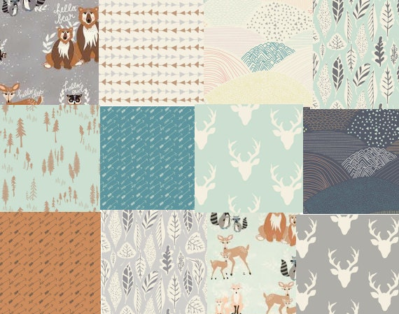 Hello Bear Fabric Bundle Modern Rustic Woodland Nursery
