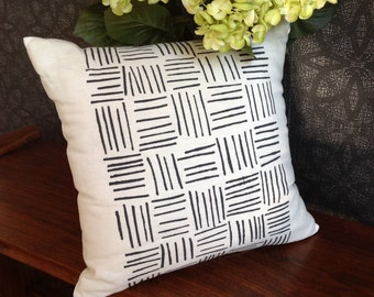 Black Screen Printed Lines/Stripes on White Linen Cushion / Pillow Cover, Australian Made