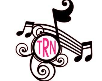 Custom Music Note Monogram; Music Monogram; Music Staff monogram, Custom Car Decal, personalized decal,