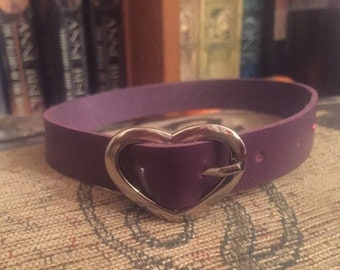 Faux Leather choker necklace with silver heart buckle