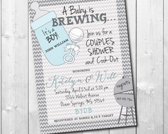 Couples Baby Shower Invitation / DIGITAL FILE / printable / wording and colors can be changed