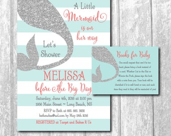 Mermaid Baby Shower Invitation with Silver Glitter Tail/ Book Request Included / DIGITAL FILES / printable / wording &colors can be changed