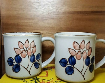 Vintage Set of 2 Blue and Peach Floral Stoneware Mugs