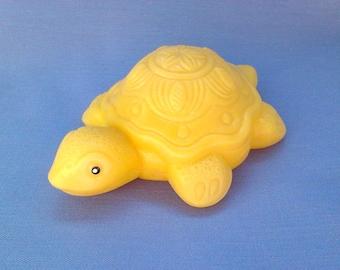 Soviet Vintage Plastic Turtle Toy / Yellow Plastic Turtle, 1980s.