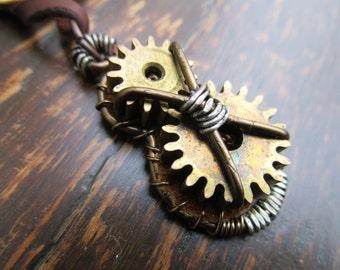 Steampunk Clock Gear Pendant