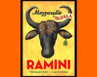 Californian Mozzarella Advertising Print - Cheese Poster Kitchen Decor Cheese Print Kitchen Food Poster  t