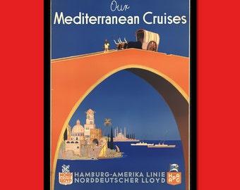 Mediterranean Travel Print - Mediterranean Travel Poster Travel Gift Idea Mediterranean Poster Travel Decor Hotel   Reproduction
