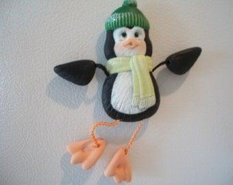 Ceramic Penguin poseable refrigerator magnet