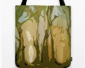 green tote - green and brown tote bag - abstract art tote bag - laptop bag - book bag - shopping tote - school tote - artwork tote