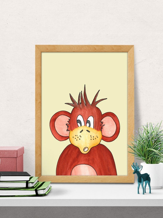 Monkey print nursery wall art modern nursery decor nursery - Modern nursery wall decor ...